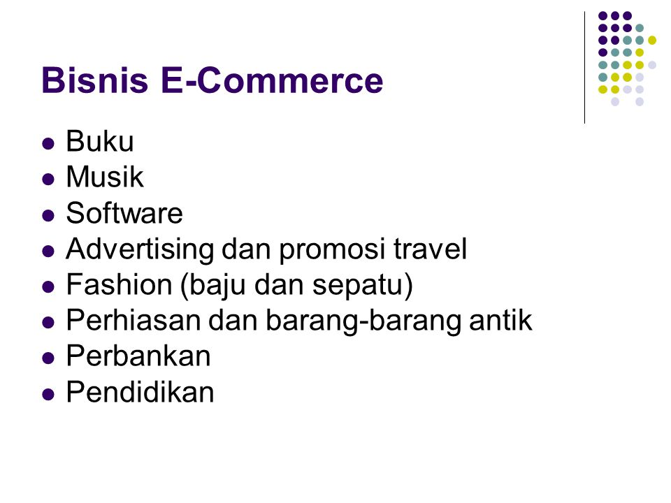 Bisnis E-Commerce Buku Musik Software Advertising dan promosi travel