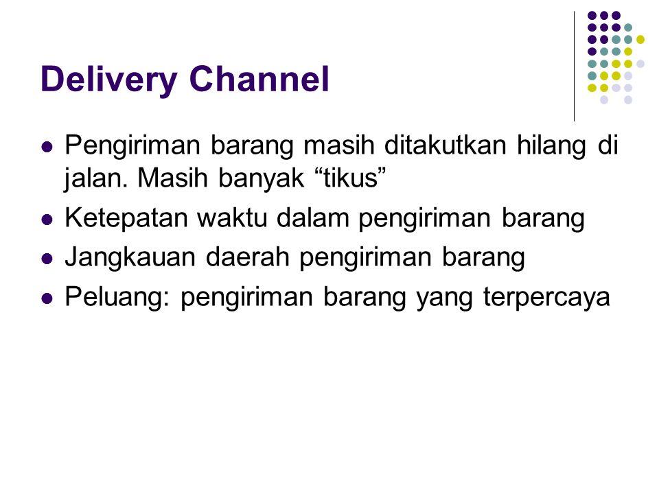 Delivery Channel Pengiriman barang masih ditakutkan hilang di jalan. Masih banyak tikus Ketepatan waktu dalam pengiriman barang.