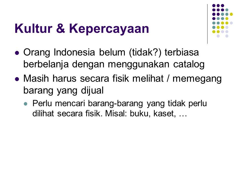 Kultur & Kepercayaan Orang Indonesia belum (tidak ) terbiasa berbelanja dengan menggunakan catalog.