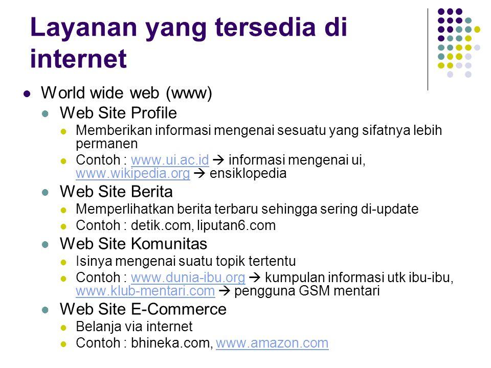 Layanan yang tersedia di internet