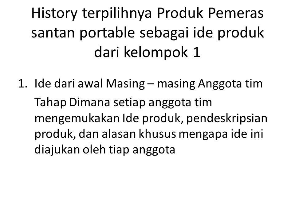 History terpilihnya Produk Pemeras santan portable sebagai ide produk dari kelompok 1