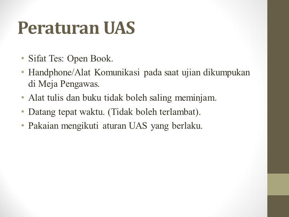 Peraturan UAS Sifat Tes: Open Book.
