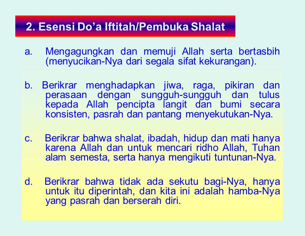 2. Esensi Do'a Iftitah/Pembuka Shalat