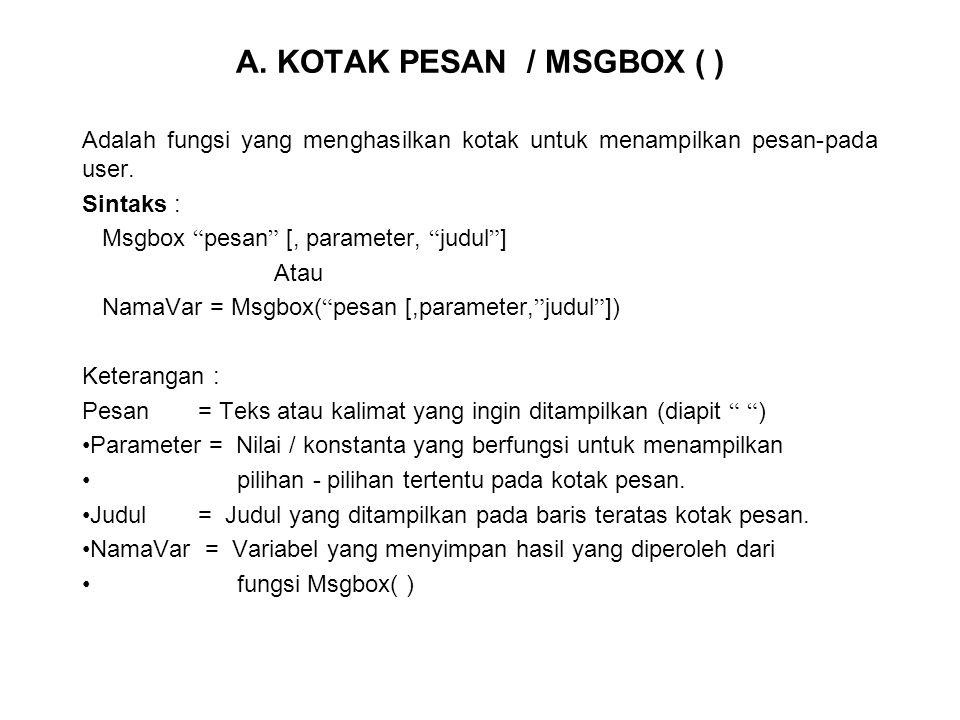 A. KOTAK PESAN / MSGBOX ( )
