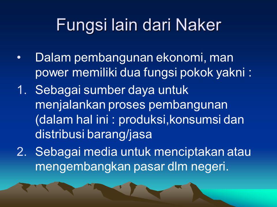 Fungsi lain dari Naker Dalam pembangunan ekonomi, man power memiliki dua fungsi pokok yakni :