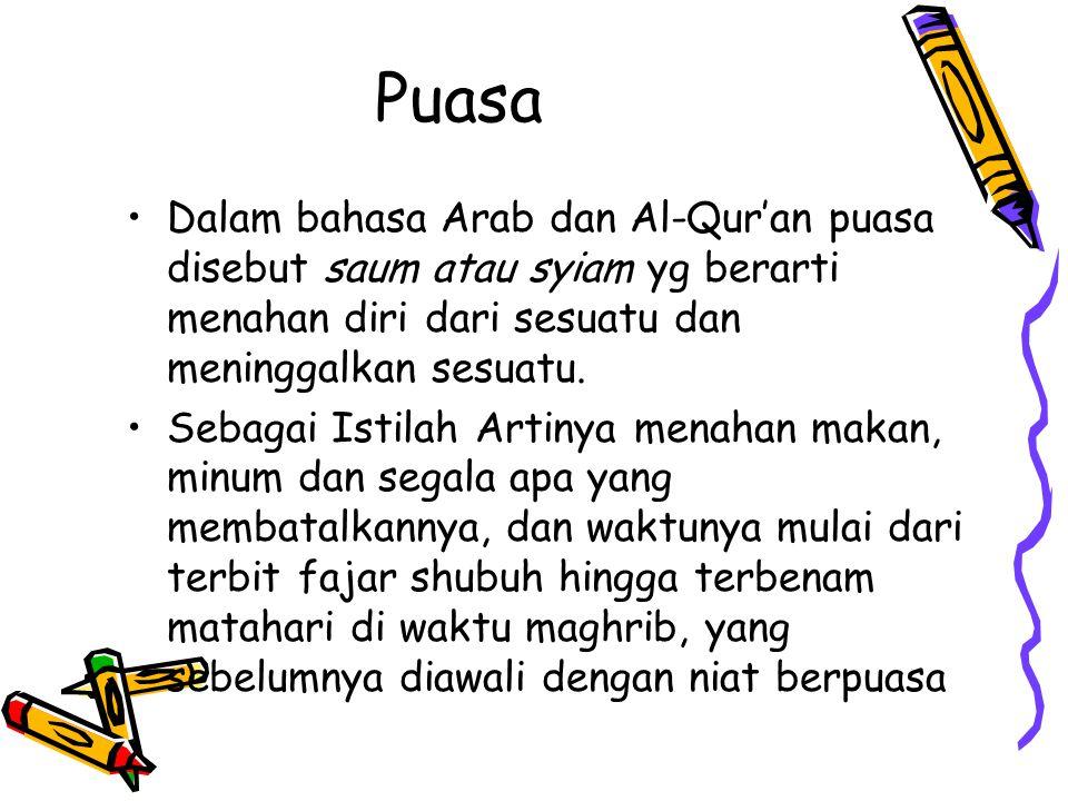 Puasa Dalam bahasa Arab dan Al-Qur'an puasa disebut saum atau syiam yg berarti menahan diri dari sesuatu dan meninggalkan sesuatu.