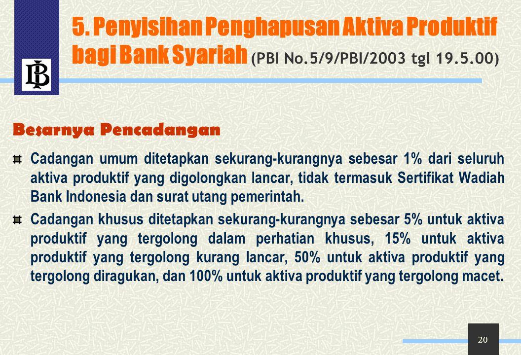 5. Penyisihan Penghapusan Aktiva Produktif bagi Bank Syariah (PBI No
