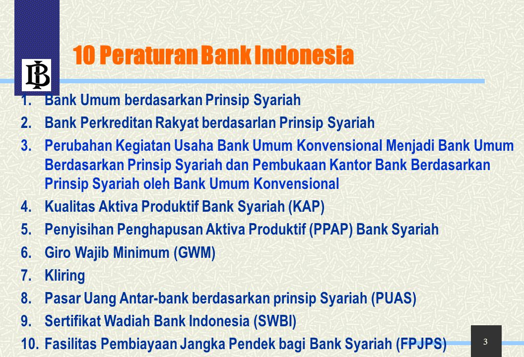 10 Peraturan Bank Indonesia