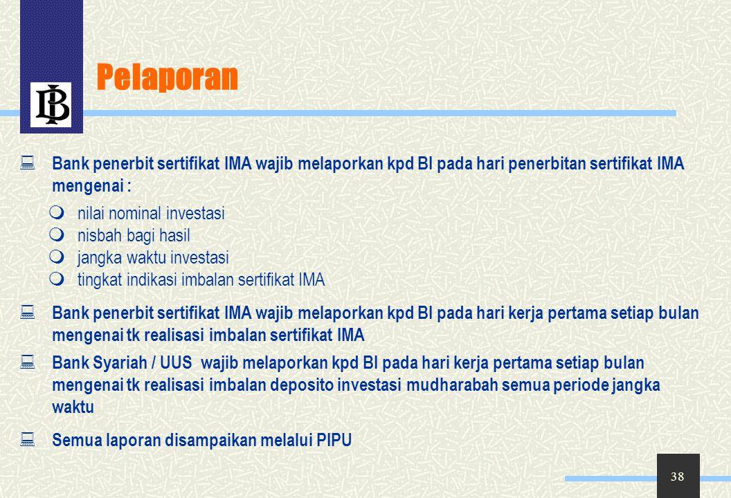 Pelaporan Bank penerbit sertifikat IMA wajib melaporkan kpd BI pada hari penerbitan sertifikat IMA mengenai :