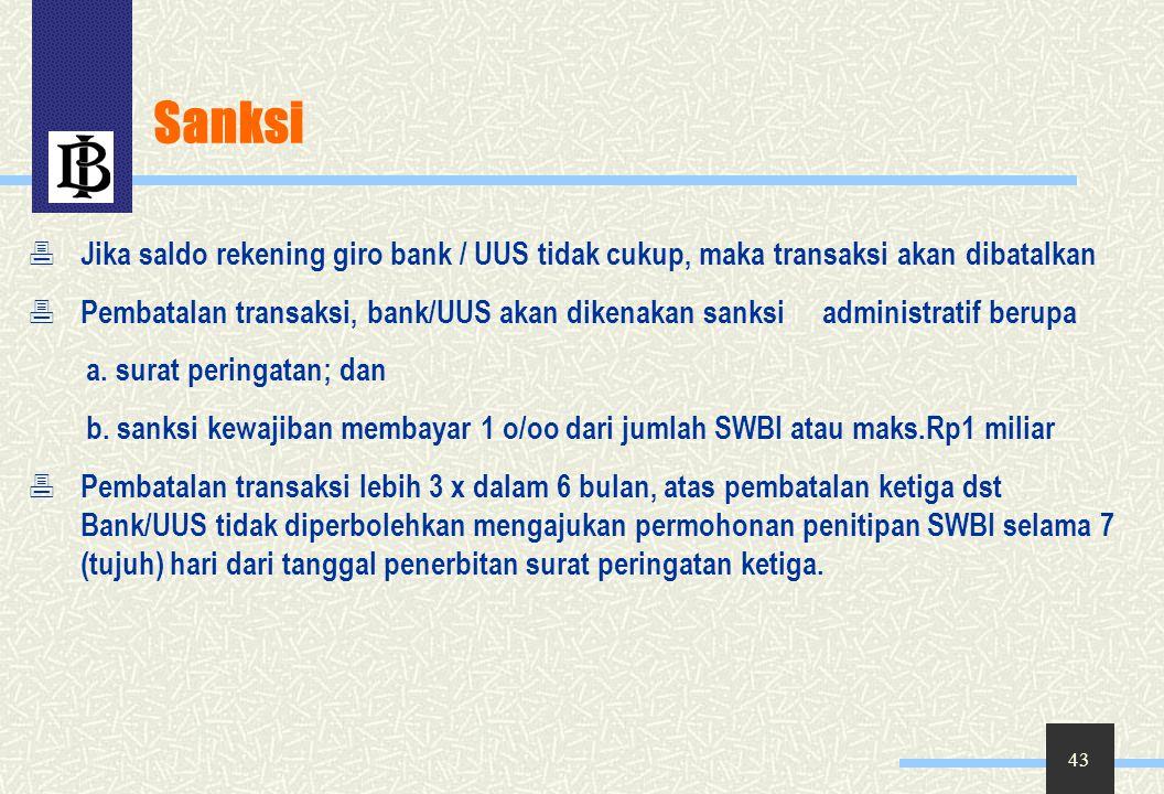Sanksi Jika saldo rekening giro bank / UUS tidak cukup, maka transaksi akan dibatalkan.