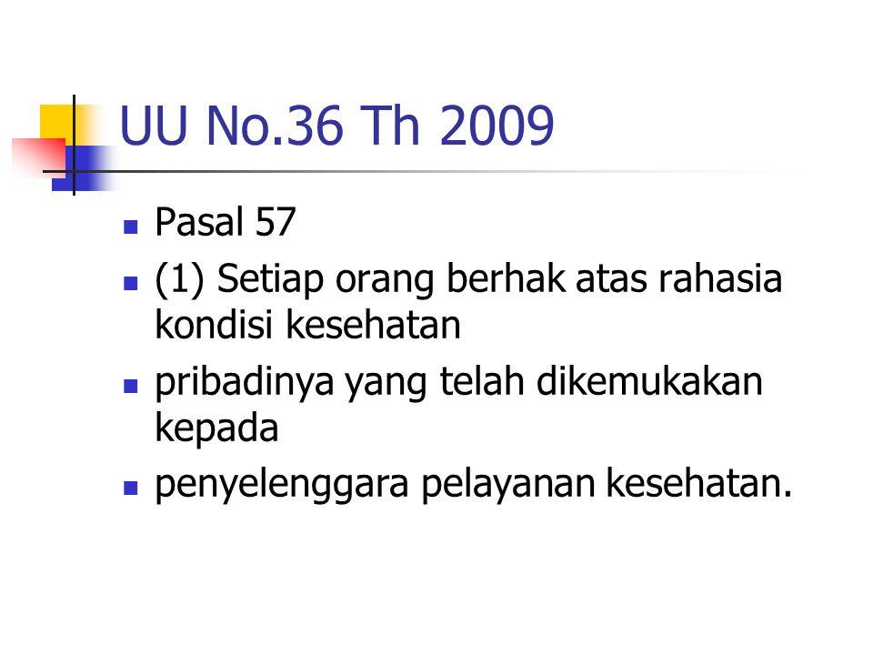UU No.36 Th 2009 Pasal 57. (1) Setiap orang berhak atas rahasia kondisi kesehatan. pribadinya yang telah dikemukakan kepada.