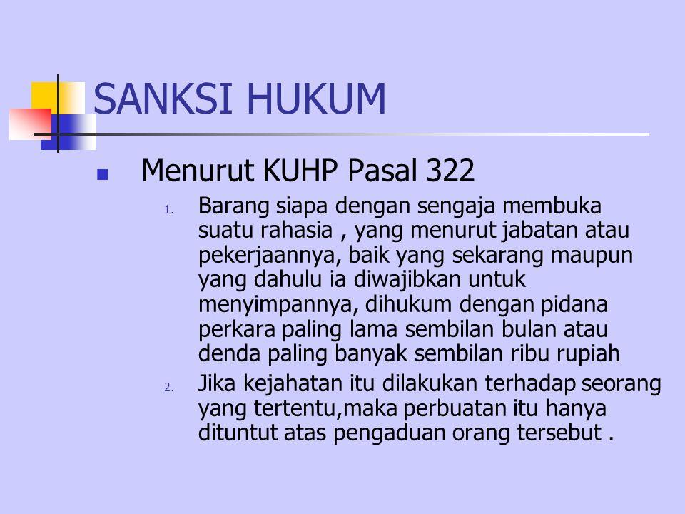 SANKSI HUKUM Menurut KUHP Pasal 322