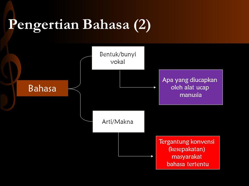 Pengertian Bahasa (2) Bahasa Bentuk/bunyi vokal Apa yang diucapkan