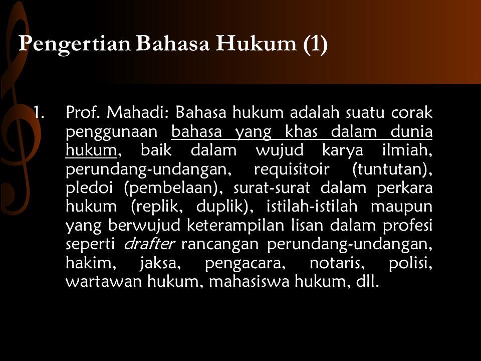 Pengertian Bahasa Hukum (1)