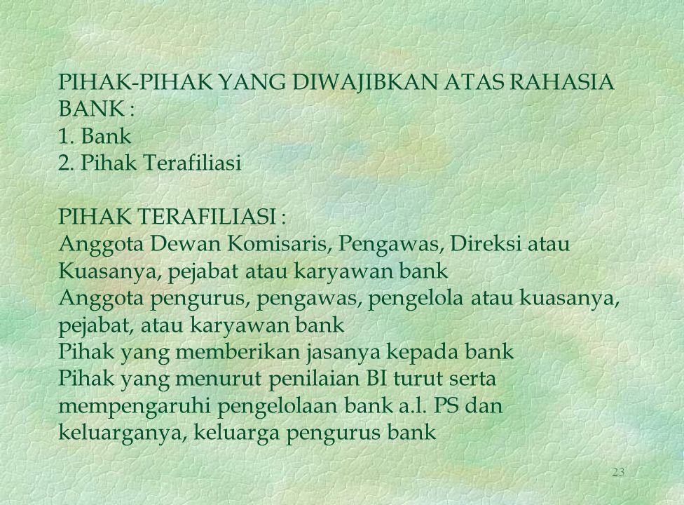 PIHAK-PIHAK YANG DIWAJIBKAN ATAS RAHASIA BANK : 1. Bank 2