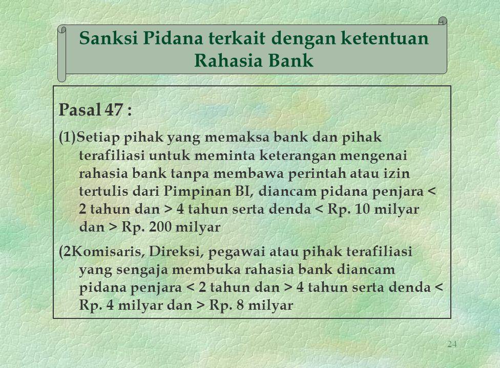 Sanksi Pidana terkait dengan ketentuan Rahasia Bank