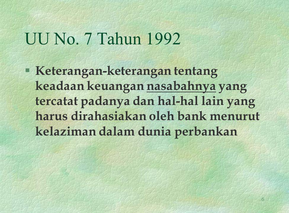 UU No. 7 Tahun 1992