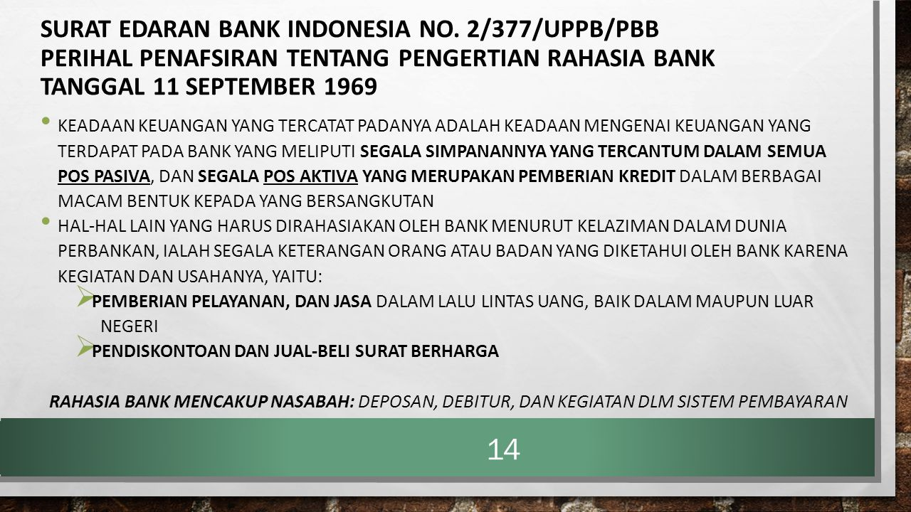 SURAT EDARAN BANK INDONESIA NO