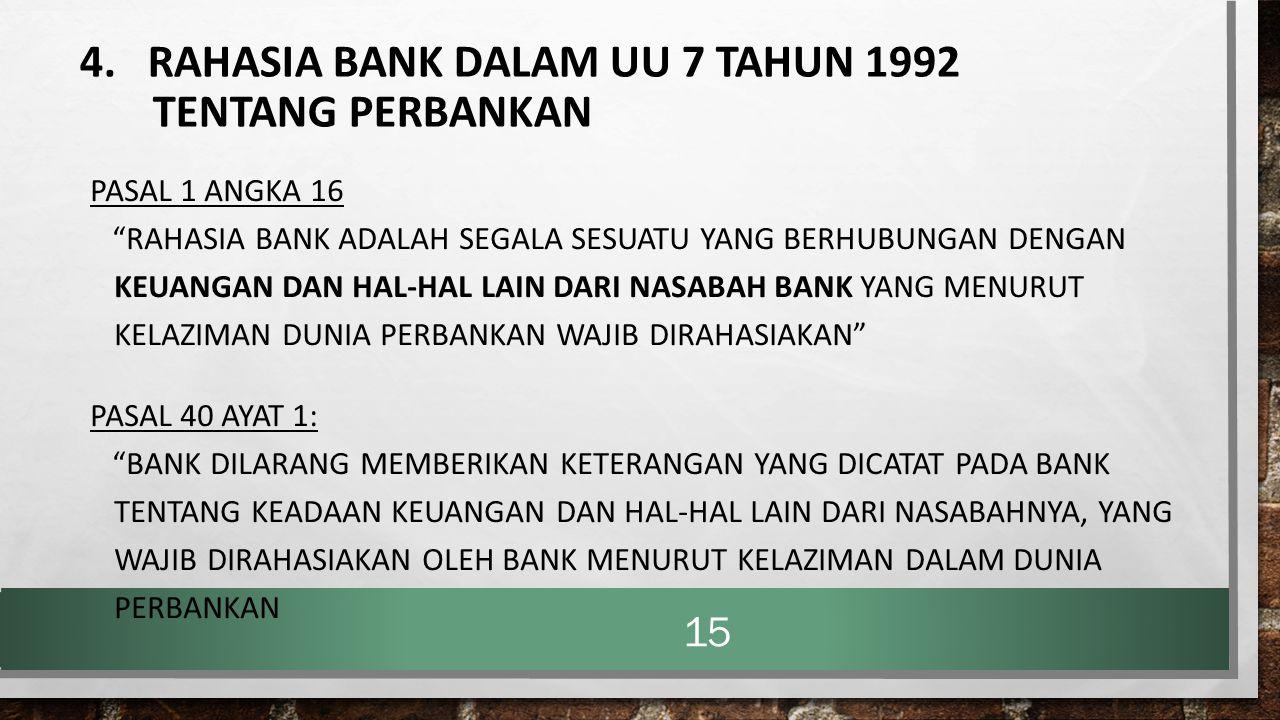 4. RAHASIA BANK DALAM UU 7 TAHUN 1992 TENTANG PERBANKAN