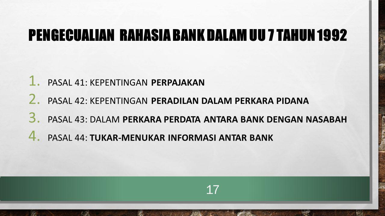 PENGECUALIAN RAHASIA BANK DALAM UU 7 TAHUN 1992