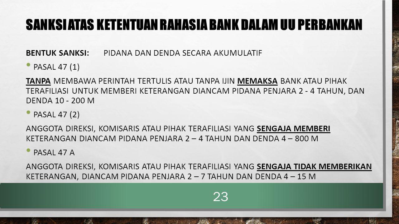 SANKSI ATAS KETENTUAN RAHASIA BANK DALAM UU PERBANKAN