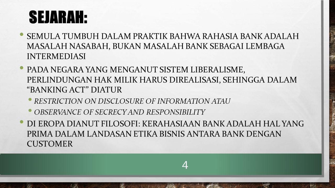 SEJARAH: SEMULA TUMBUH DALAM PRAKTIK BAHWA RAHASIA BANK ADALAH MASALAH NASABAH, BUKAN MASALAH BANK SEBAGAI LEMBAGA INTERMEDIASI.