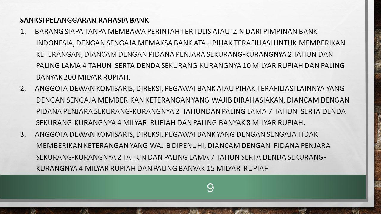Sanksi Pelanggaran Rahasia Bank 1