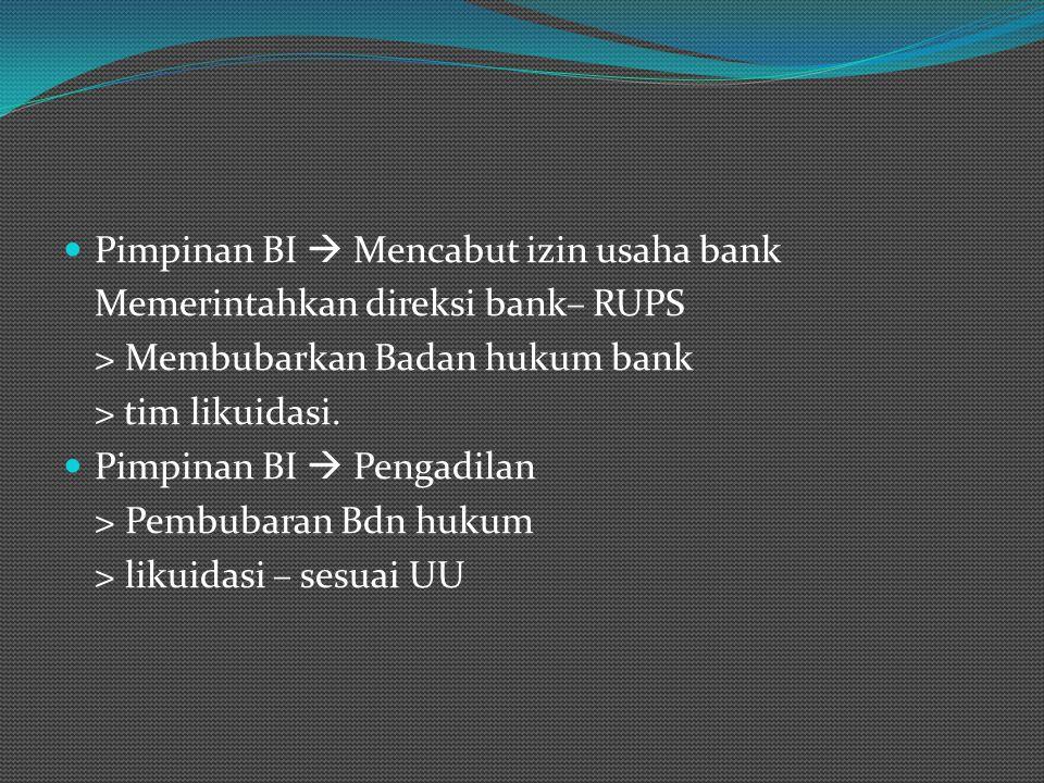 Pimpinan BI  Mencabut izin usaha bank