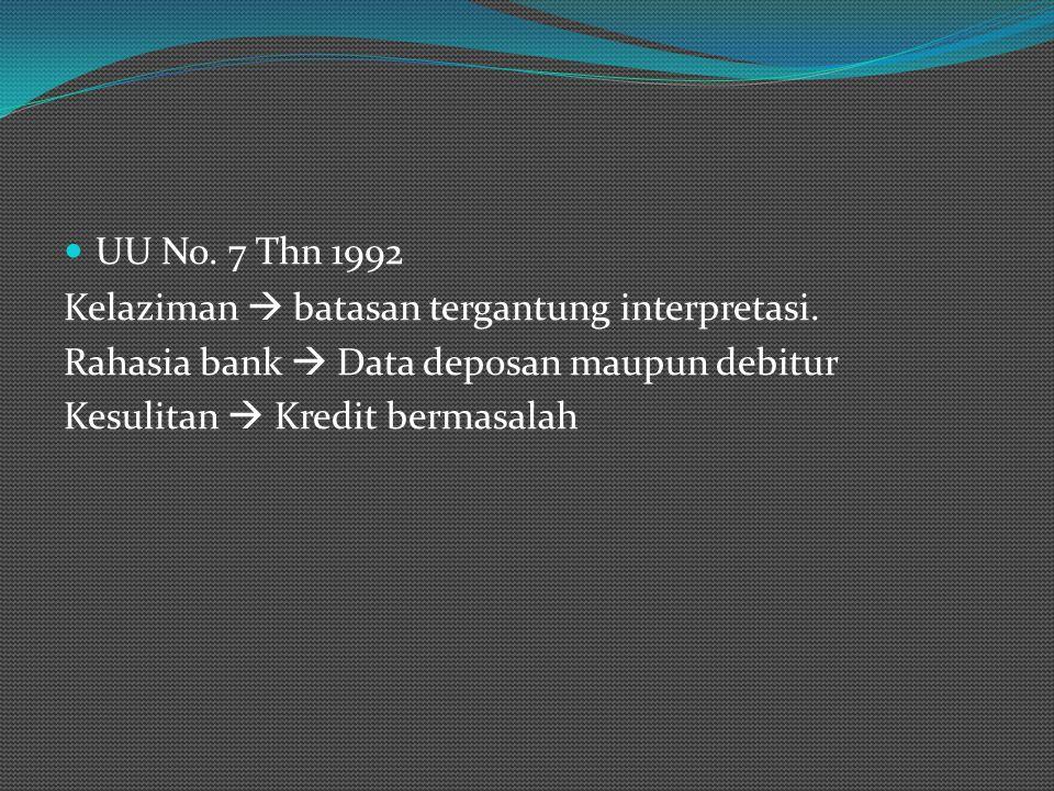 UU No. 7 Thn 1992 Kelaziman  batasan tergantung interpretasi. Rahasia bank  Data deposan maupun debitur.