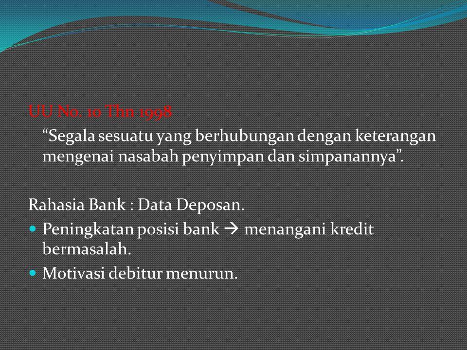UU No. 10 Thn 1998 Segala sesuatu yang berhubungan dengan keterangan mengenai nasabah penyimpan dan simpanannya .