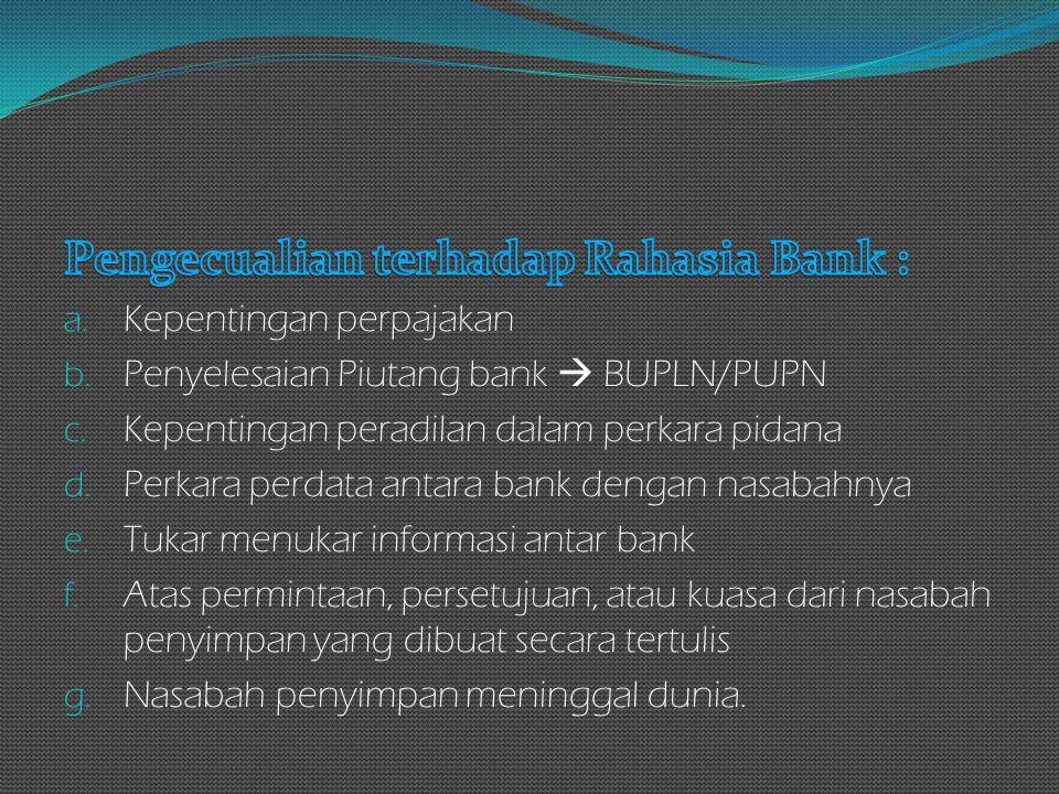 Pengecualian terhadap Rahasia Bank :