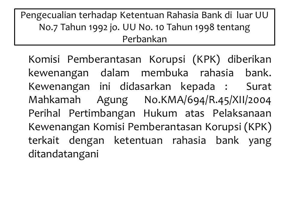 Pengecualian terhadap Ketentuan Rahasia Bank di luar UU No