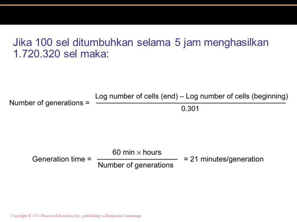 Jika 100 sel ditumbuhkan selama 5 jam menghasilkan 1.720.320 sel maka: