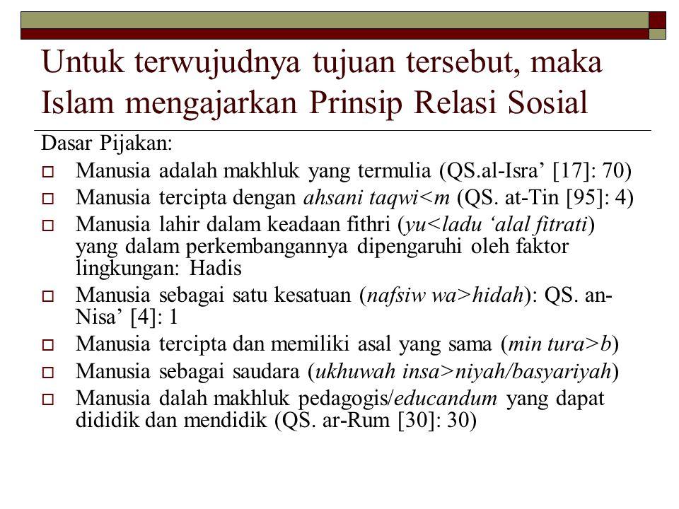 Untuk terwujudnya tujuan tersebut, maka Islam mengajarkan Prinsip Relasi Sosial