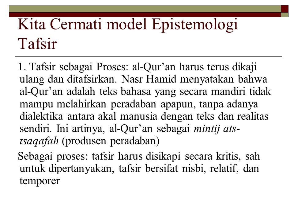 Kita Cermati model Epistemologi Tafsir