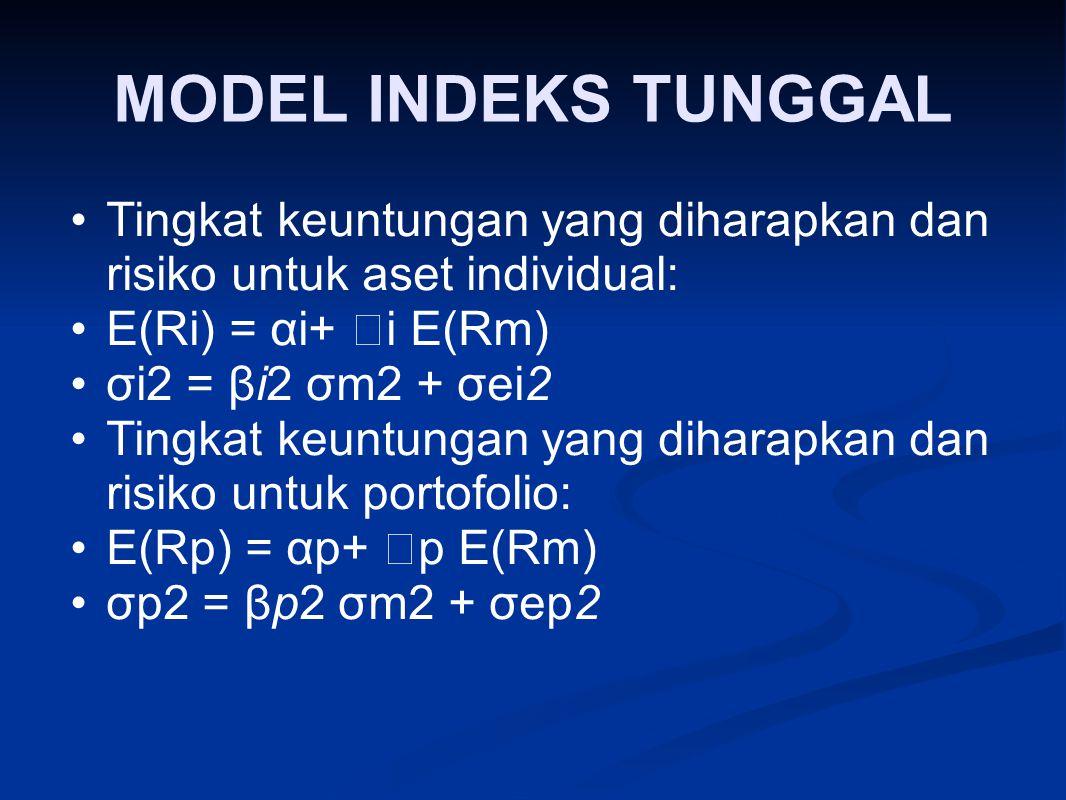 MODEL INDEKS TUNGGAL Tingkat keuntungan yang diharapkan dan risiko untuk aset individual: E(Ri) = αi+ i E(Rm)