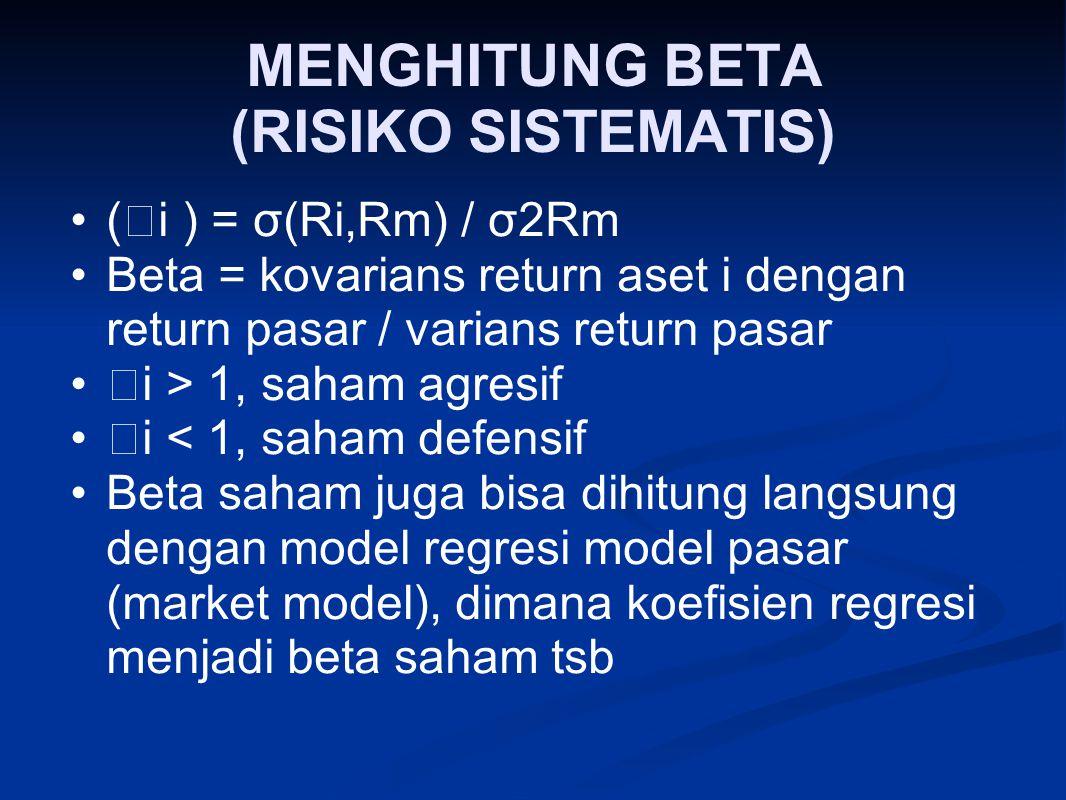 MENGHITUNG BETA (RISIKO SISTEMATIS)
