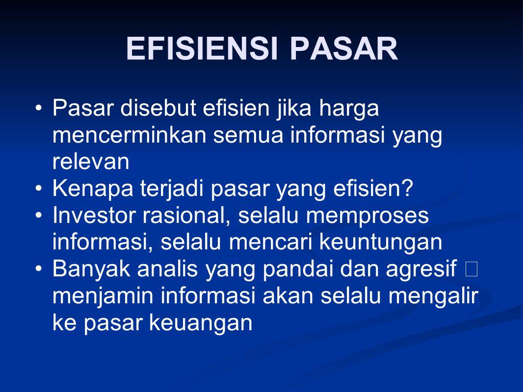 EFISIENSI PASAR Pasar disebut efisien jika harga mencerminkan semua informasi yang relevan. Kenapa terjadi pasar yang efisien