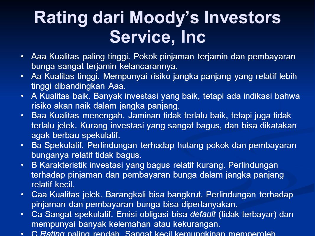 Rating dari Moody's Investors Service, Inc