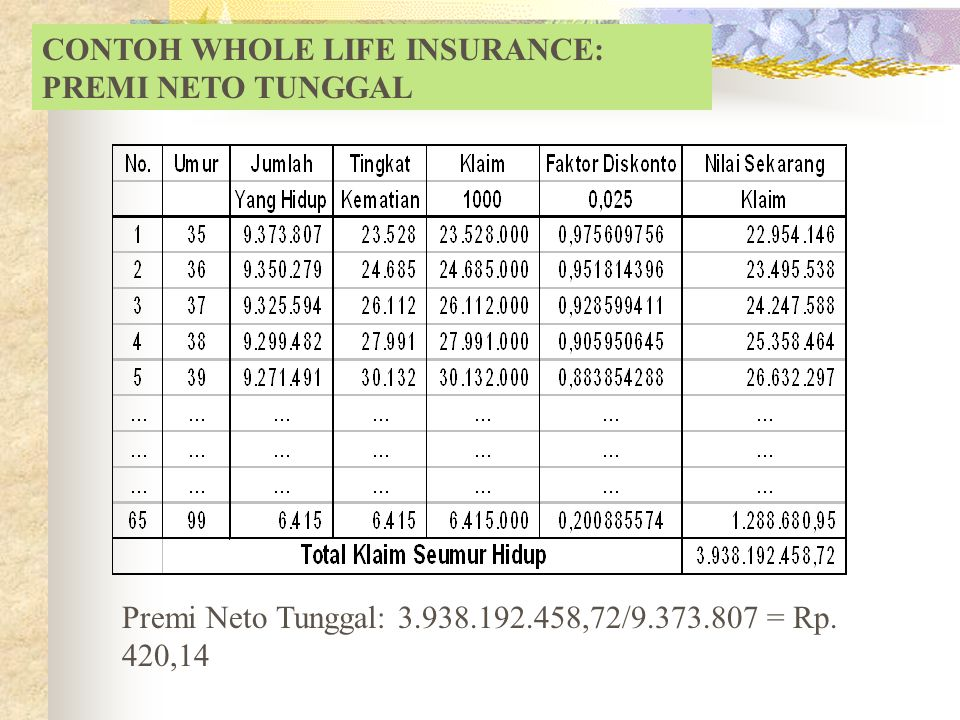 CONTOH WHOLE LIFE INSURANCE: PREMI NETO TUNGGAL