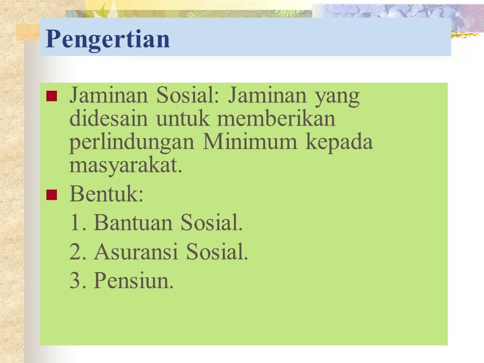 Pengertian Jaminan Sosial: Jaminan yang didesain untuk memberikan perlindungan Minimum kepada masyarakat.