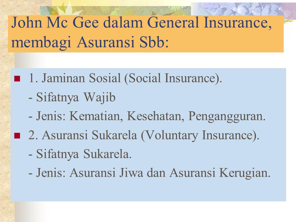 John Mc Gee dalam General Insurance, membagi Asuransi Sbb: