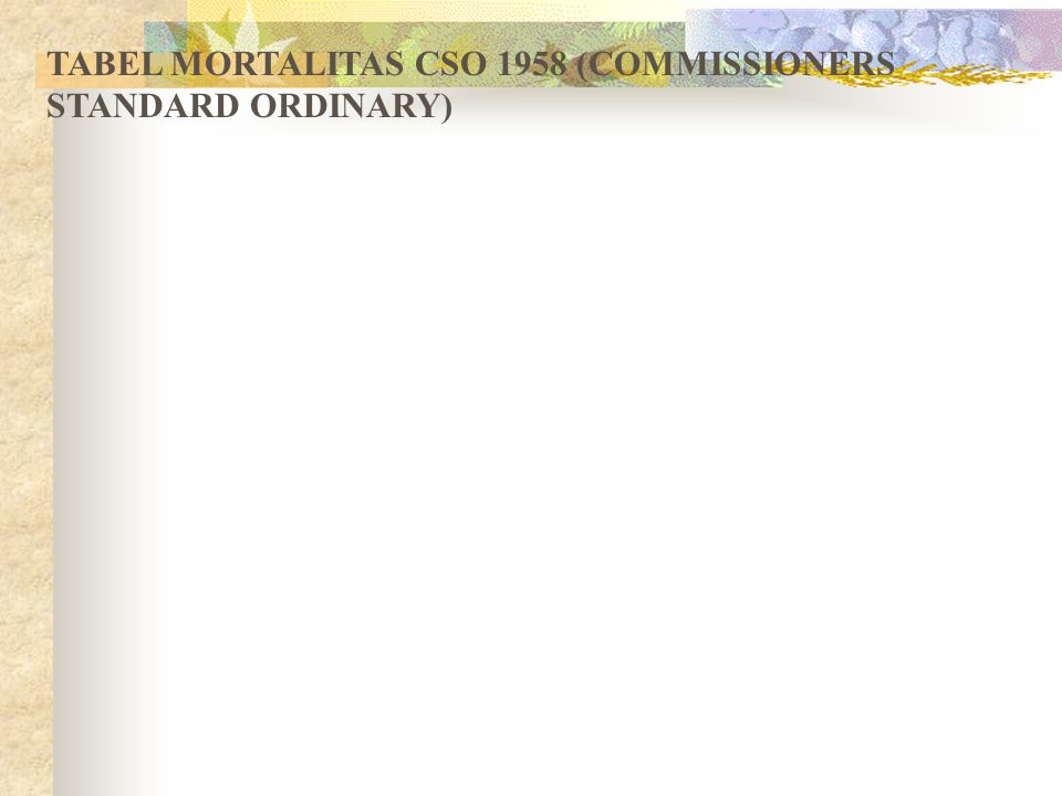 TABEL MORTALITAS CSO 1958 (COMMISSIONERS STANDARD ORDINARY)