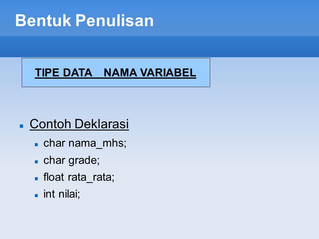 TIPE DATA NAMA VARIABEL
