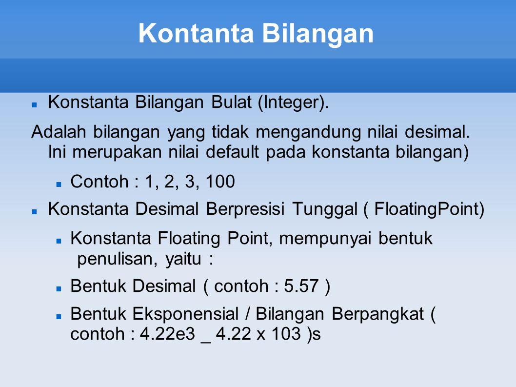 Kontanta Bilangan Konstanta Bilangan Bulat (Integer).