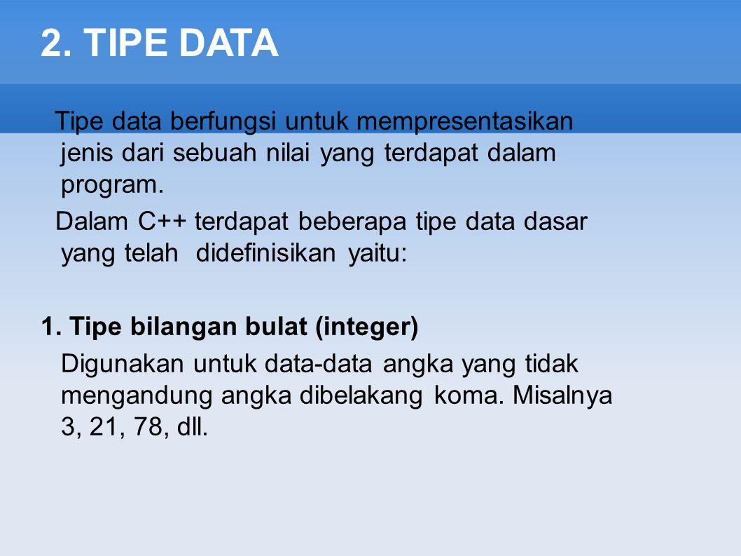 2. TIPE DATA Tipe data berfungsi untuk mempresentasikan jenis dari sebuah nilai yang terdapat dalam program.