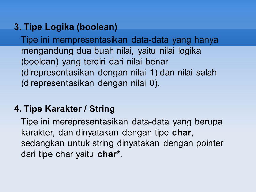 3. Tipe Logika (boolean)