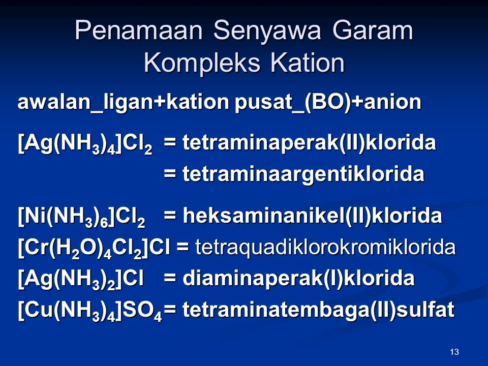 Penamaan Senyawa Garam Kompleks Kation