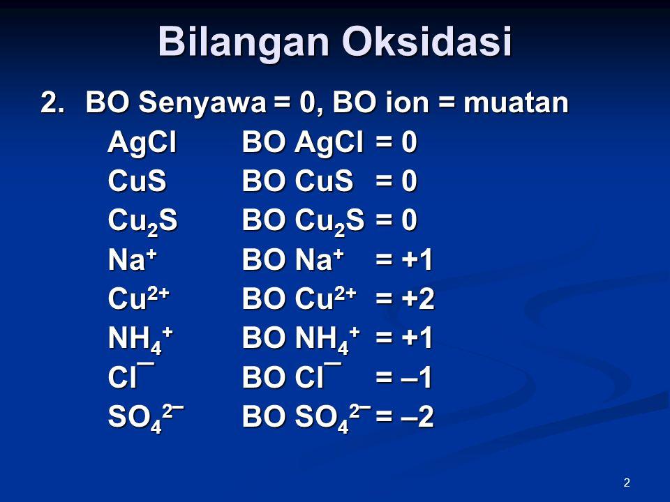 Bilangan Oksidasi BO Senyawa = 0, BO ion = muatan AgCl BO AgCl = 0