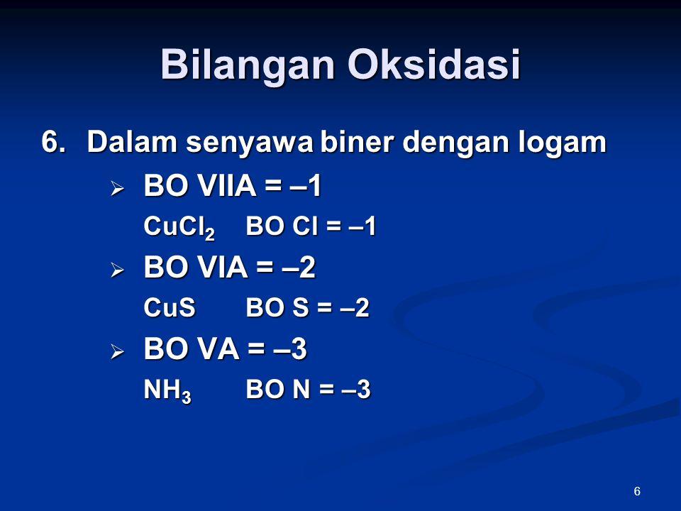 Bilangan Oksidasi Dalam senyawa biner dengan logam BO VIIA = –1